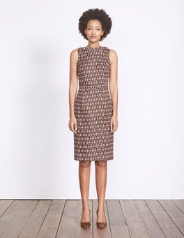 Autumn Brown Crescent Geo Martha Dress