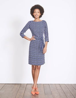 Navy Ribbon Print Kelly Dress