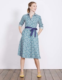 Solstice Blue Tile Heart Posy Shirt Dress