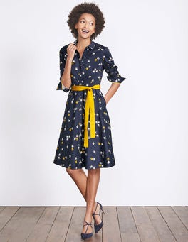 Navy Sunset Swallow Posy Shirt Dress