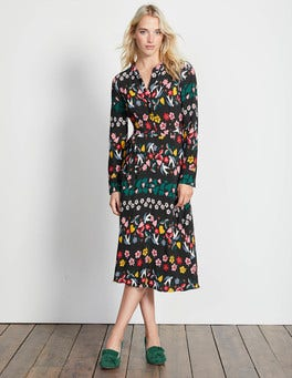 Black Folklore Print Jessica Dress
