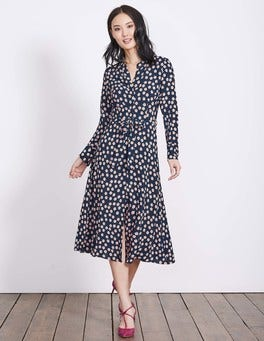 Navy Polka Floral Jessica Dress