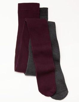 Charcoal Mark/Dark Burgundy Cotton Rib Tights