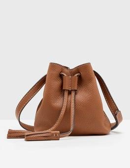 Tan Mini Tassel Pouch Bag