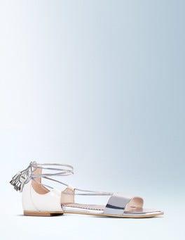 Silver Mirror Metallic/Ivory Sienna Sandal