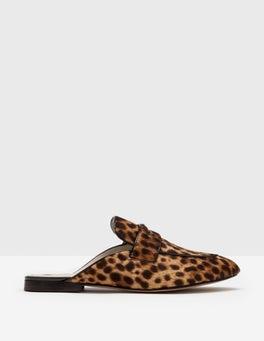 Tan Leopard Backless Loafer