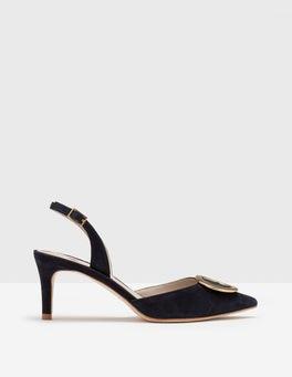 Navy Joanna Slingback Heels