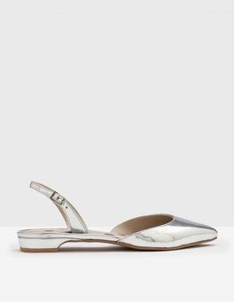 Silver Metallic Cecelia Slingback Flats