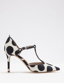 Ivory & Navy Spot Angelica T-Bar Heel