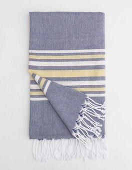 Navy Fringed Towel