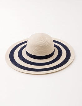 Navy & Oatmeal Stripe Sun Hat