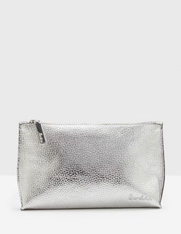 Silver Metallic Leather Pouch