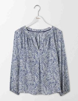 Santorini Blue Mono Paisley Dolly Top