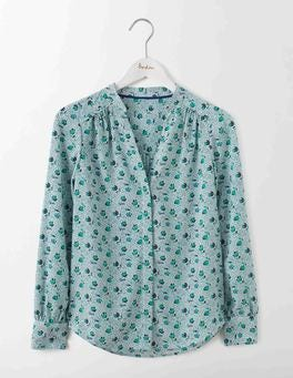 Meadow Green/Ivory Spot Floral Olive Blouse