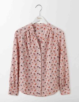 Chalky Pink Spot Floral Olive Blouse