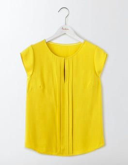 Mimosa Yellow Pleat Front Top