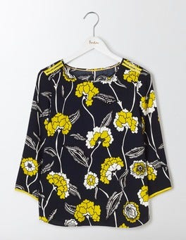 Navy Maritime Floral Philippa Top