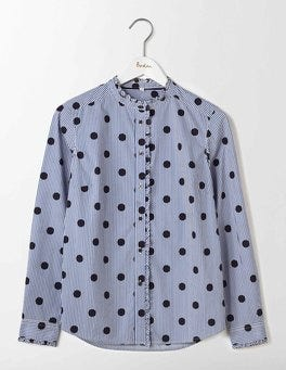 Navy Spot Stripe Virginie Ruffle Shirt