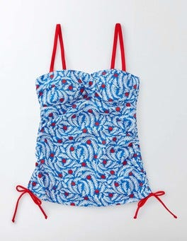 China Blue Floral Vine Pop Amalfi Bandeau Tankini Top