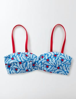 China Blue Floral Vine Pop Amalfi Bandeau Bikini Top