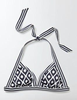 Navy Floral Geo Ischia Halter Bikini Top