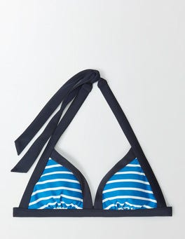 China Blue/Ivory Stripe Ischia Halter Bikini Top