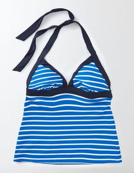 China Blue/Ivory Stripe Ischia Halter Tankini Top