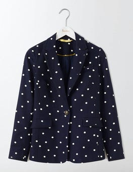Navy Small Scattered Spot Ellen Cotton Blazer