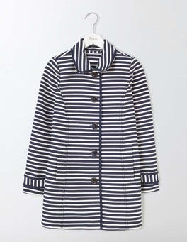 Navy/Ivory Stripe Constance Striped Coat