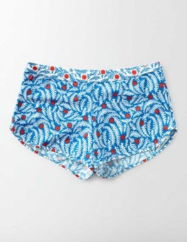 China Blue Floral Vine Pop Swim Shorts