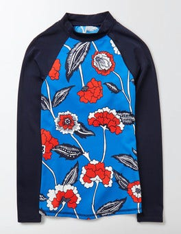 China Blue Maritime Floral Rash Vest