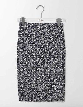 Navy/Ivory Geo Bud Ruched Skirt