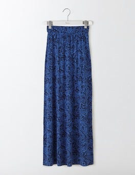Santorini Blue Mono Paisley Jersey Maxi Skirt
