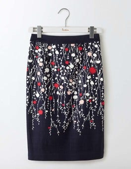 Navy Trailing Floral Martha Skirt