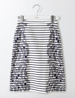 Navy Stripe Floral Printed Cotton A-Line Skirt