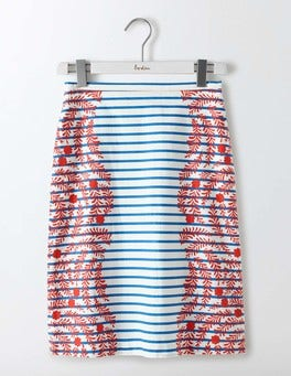 Red/Blue Stripe Floral Printed Cotton A-Line Skirt