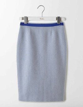Imperial Blue Textured Modern Pencil Skirt