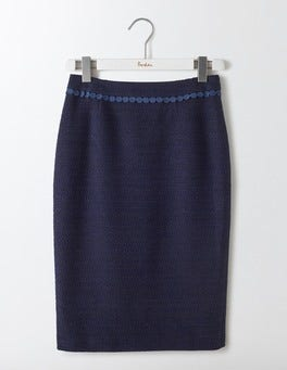 Navy Textured Modern Pencil Skirt