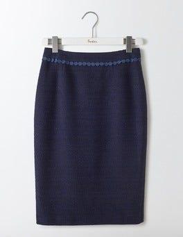 Navy Textured Modern Pencil Skirt