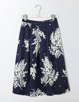 Navy Wisteria Floral Lola Skirt