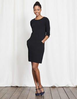 Black Seam Detail Tunic Dress