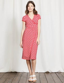 Strawberry Sundae Floral Geo Casual Jersey Dress