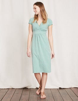 Chalky Green Mosaic Casual Jersey Dress