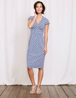 Blue Large Floral Geo Casual Jersey Dress