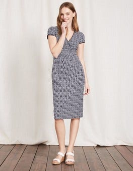 Navy Mosaic Casual Jersey Dress