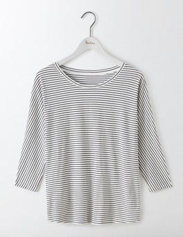 Ivory/Navy Supersoft Oversized Top