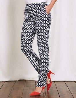Ivory/Navy Linked Floral Richmond Trousers