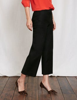 Black Richmond Wide Crop Trousers