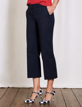 Navy Richmond Wide Crop Trousers