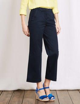 Navy Rachel Wide Crop Chino Trouser